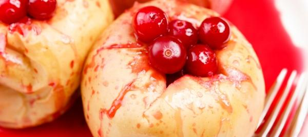 Baked apples with cranberries, raisins, and apricots