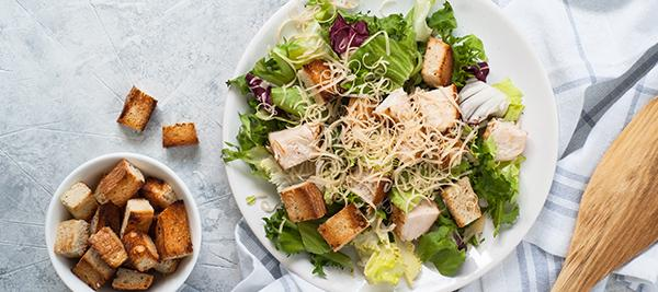 Chicken Caesar Salad with Whole Wheat Croutons