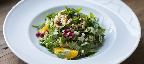 Wheat Berry and Pomegranate Salad with Maple Dijon Dressing